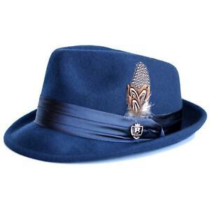 Bruno Capelo Kid's Navy Blue Australian Wool Fedora Dress Hat W/ Satin Band
