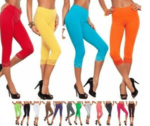 Womens Ladies 3/4 Length Lace Trim Cropped Fitted Trousers Leggings Jeggings