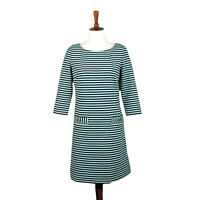 Lilly Pulitzer Size M Charlene Dress Tropez Blue Stripes 3/4 Sleeves