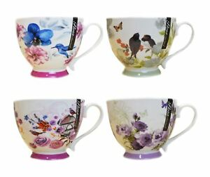 New Bone China Mugs Set of 4 Floral Design Tea Coffee Home Kitchen Office Cups