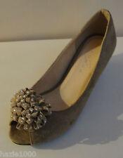 Fabulous Lunar beige suede peep toe hidden wedge court shoes, UK 4/EU 37, BNWB