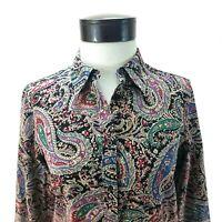 CHAPS NO IRON Shirt Black Paisley w Houndstooth Flip Cuff Button Up Womens M $65