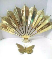Home Interior Brass Wall Art Hangings Decor  Butterfly & Fan Goldtone