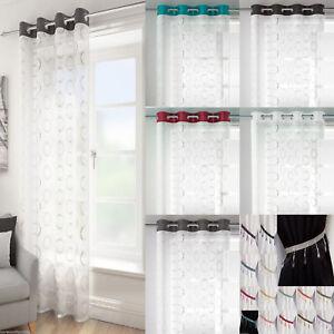 Spiro Mexico Modern Retro Voile Net Curtain Eyelet Ring Top Voile Single Panel