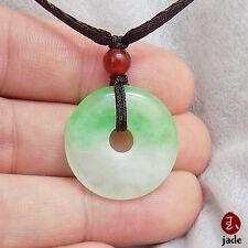 Chinese Little White Green donut jade pendant necklace US SELLER