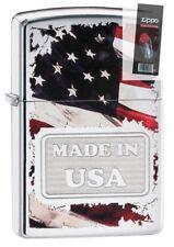 Zippo 29679 American Flag-Made in USA High Polish Chrome Lighter + FLINT PACK