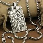999 Pure Silver Mens Biker Pendant Indian Chief Skull Gothic DogTag 9X022NB
