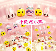 Cute rabbit and chicken 24 Lovely Nails Glue On False Nails