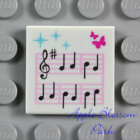 NEW Lego MUSIC NOTE SHEET -Minifig Girl Friends Band Song Printed White 2x2 Tile