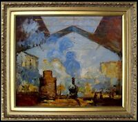 Framed, Claude Monet La Gare St. Lazare Repro, Hand Painted Oil Painting 20x24in
