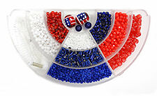 Salute USA Red White Blue Bead Box Seed Bead DIY kit approximate 6 oz New