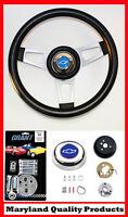 "Chevy Pick Up Blazer Grant Black Steering Wheel 13 3/4"" shallow dish Blue Bowtie"