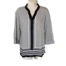 Cynthia Rowley Tunic Top Shirt Women Size M Black White Y-neck Rayon 3/4 Sleeve