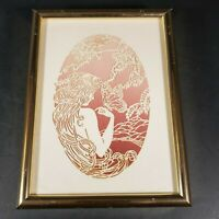 "Gold Framed Paper Art Women Butterfly Wall Hanging 6.25"" X 4.5"" Pink Cream"