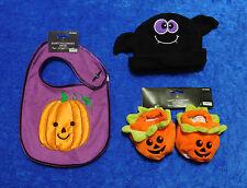 Halloween Baby LOT Pumpkin Bib Bat Hat Booties