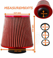 RED K&N TYPE UNIVERSAL FREE FLOW PERFORMANCE AIR FILTER & ADAPTERS - MG