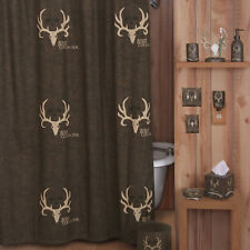 "Bone Collector Fabric Shower Curtain 72"" x 72"" / 12 Hooks Michael Waddell Logo"