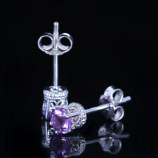 Filligree Earring Natural Amethyst Solid 14K Solid White Gold Fine Party Jewelry