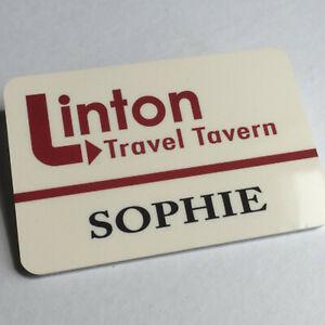 Sophie - LINTON TRAVEL TAVERN - I'm Alan Partridge - Staff Name Badge - Glossy