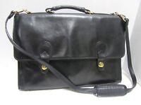 Lodis Onyx Gloss Leather Briefcase Brass Turnlock Crossbody Messenger Bag Laptop