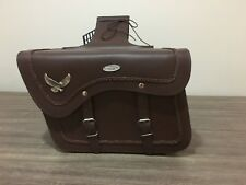 MOTORBIKE SADDLE BAGS 100% LEATHER, BROWN WITH EAGLE, BRAND NEW, PL2654B