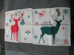 CHRISTMAS CANVAS PILLOW COVERS - LOT OF 2 - NEW