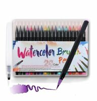 Watercolor Paint Brush Pen Set With Refillable Water Coloring Pen 20 Color New