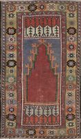 Antique Geometric Anatolian Turkish Tribal Area Rug Hand-knotted Wool 3x6 Carpet
