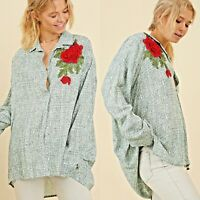 Umgee Top Size XL S M L Embroidered Oversized Long Sleeve Tunic Womens Shirt New