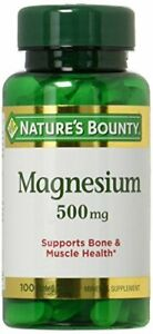 Nature's Bounty Magnesium 500mg, 100 Count, Pack of 2 100 Count (Pack 2)