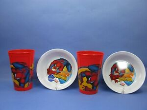 Marvel Spider-Man 2 water juice Tumbler Cups & 2 snack cereal bowls ZAK BPA FREE