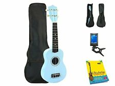 Star Soprano Ukulele 21 Inch with Bag, Tuner and Beginner's Guide, Light Blue