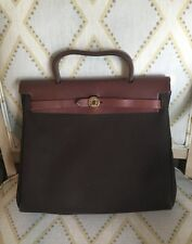 Hermes Brown Black Canvas Leather Toile 2 in 1 Shoulder Herbag Handbag