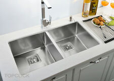 875*450*235mm Stainless Steel Kitchen Sink Double Square Bowl Undermount/Dropin