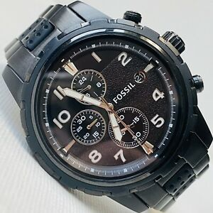 Fossil 45mm Men's Chronograph 50M Black Stainless Silicone Date Watch FS4902