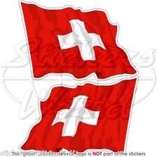 SVIZZERA Bandiera Onda Svizzera Adesivi in Vinile per Auto Sticker x2