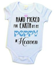 Baby Arrival Announcement Hand Picked for Earth by my Poppy in Heaven Baby Suit