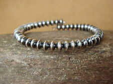 Native Indian Sterling Silver Desert Pearl Memory Wire Bracelet by Yazzie