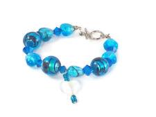Womens Fashion Bracelet Bangle Jewelry- Blue Silver Swarovski Cristal Gem Stones
