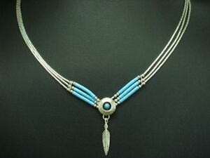 925 Sterling Silver Collier with Turquoise Decorations/Real Silver/7,2g/40,6cm