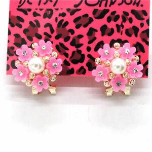 Hot Rose Resin Cute Flower Girl Crystal Betsey Johnson Women Stand Earrings