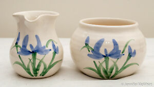 Made-in-the-USA Stoneware Cream and Sugar Set with Iris Design by Clay in Motion