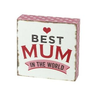 Best Mum in the world wooden block sign plaque  gift