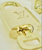 Authentic Louis Vuitton 1 Lock w/ Key 306 or any #-Brass Golden Padlock ONE SET