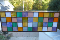 Beautiful Colorful Stained Glass Patchwork Window Panel