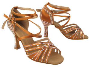 Women's Dance Shoes Salsa Latin Bachata Copper Tan Rhinestone Very fine S1006CC