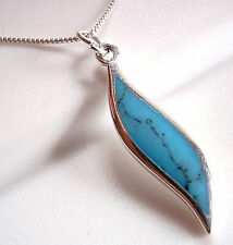 Smooth Curves Blue Turquoise Necklace 925 Sterling Silver Corona Sun Jewelry