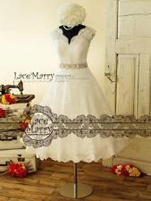 50er Vintage Kurz Spitze Brautkleid Standesamtkleid A-Linie Gürtel Natur Weiß