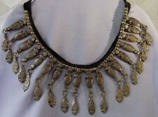 1970s Vintage Boho Gypsy Belly Dancer Middle Eastern Wide Artisan Bib Necklace