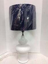 Frontgate Grandinroad White Ceramic Table Lamp Light Fixture Navy Shade Bedside